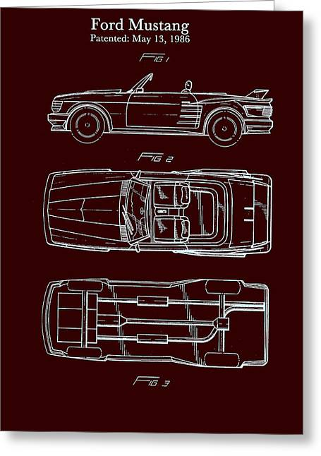 Ford Mustang Drawings Greeting Cards - Ford Mustang Automobile Body Patent 1986 Greeting Card by Mountain Dreams