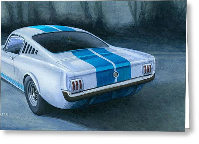 Carroll Shelby Paintings Greeting Cards - Ford Mustang GT350 Greeting Card by Norb Lisinski