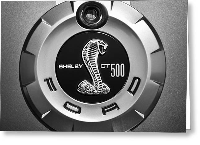 Ford Shelby Gt 500 Cobra Emblem Greeting Card by Jill Reger