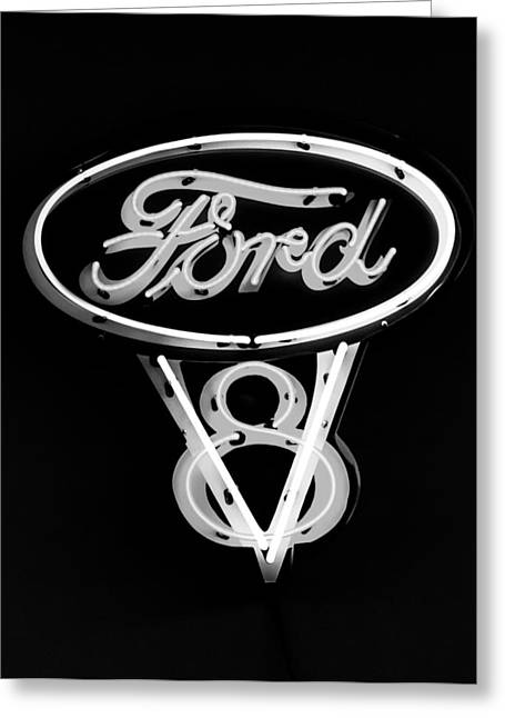 V8 Greeting Cards - Ford V8 Neon Sign Greeting Card by Jill Reger
