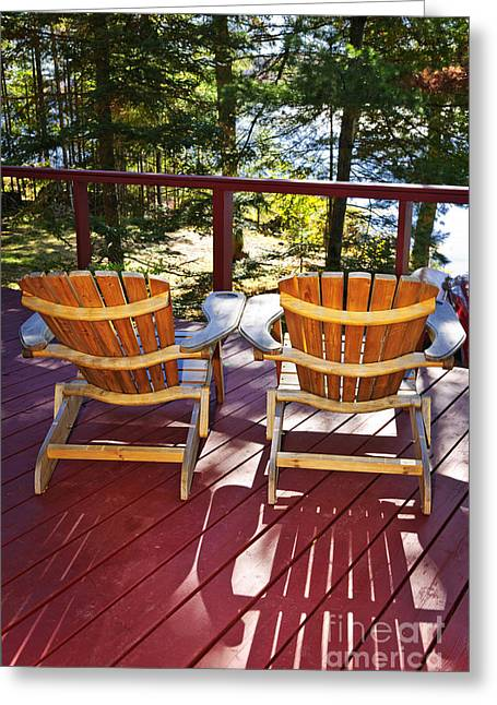 Deck Chairs Greeting Cards - Forest cottage deck and chairs Greeting Card by Elena Elisseeva