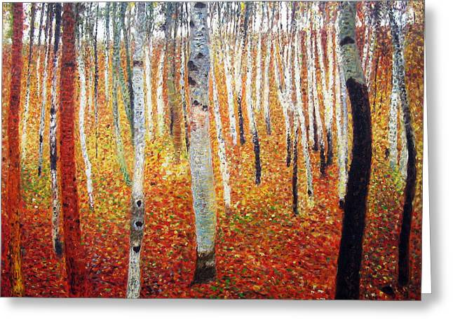 Nature Scene Paintings Greeting Cards - Forest of Beech Trees Greeting Card by Celestial Images