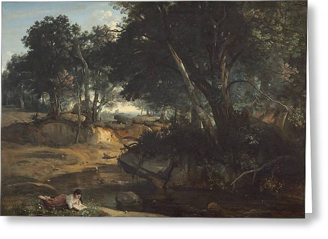 Fontainebleau Forest Greeting Cards - Forest of Fontainebleau Greeting Card by Jean-Baptiste-Camille Corot