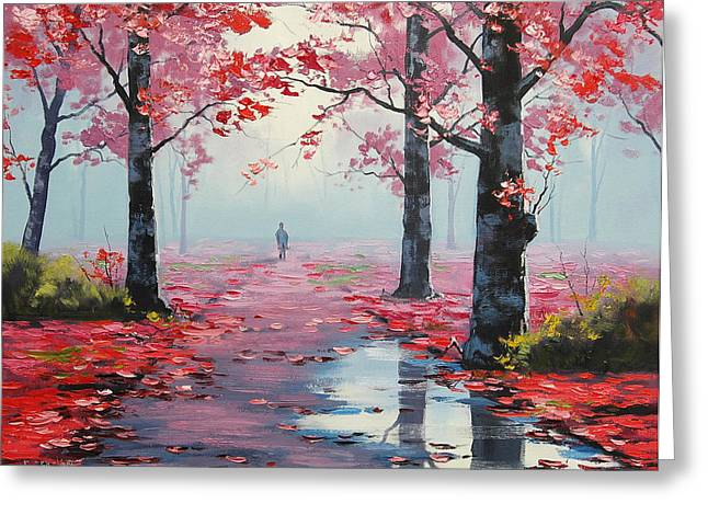 Pink Road Greeting Cards - Forest Road Greeting Card by Graham Gercken