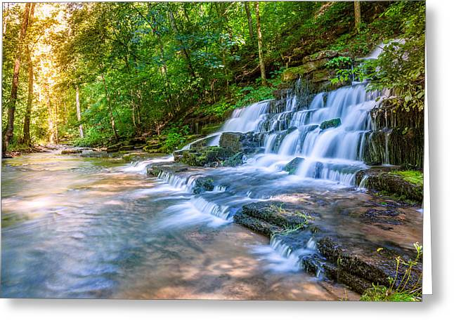Beautiful Creek Greeting Cards - Forest stream and waterfall Greeting Card by Alexey Stiop