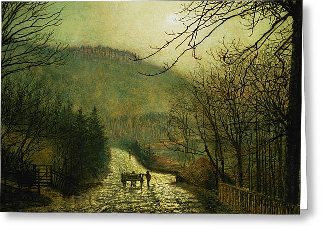 Forge Valley Greeting Card by John Atkinson Grimshaw