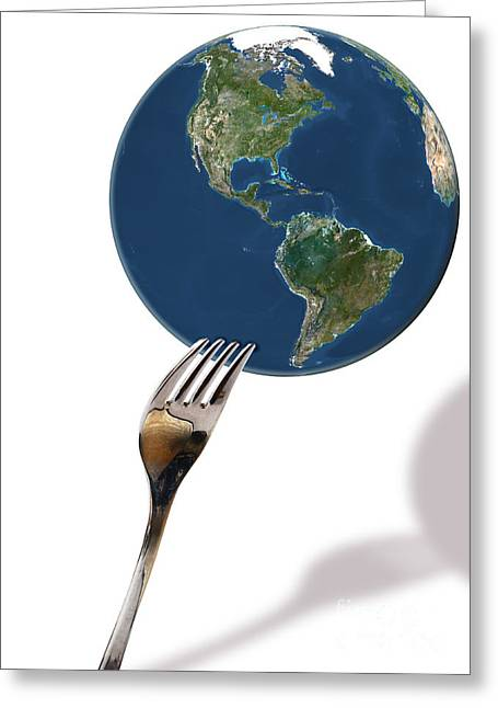 World Of Food Greeting Cards - Fork And Earth Greeting Card by Monica Schroeder