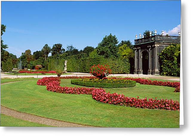 Garden Scene Greeting Cards - Formal Garden In Front Of A Building Greeting Card by Panoramic Images