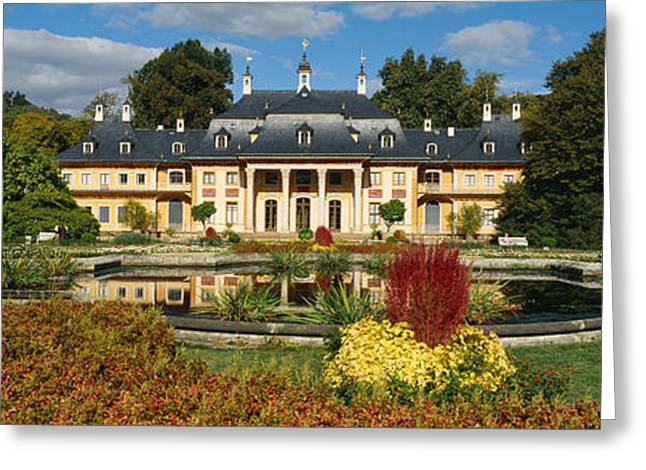 Dresden Greeting Cards - Formal Garden In Front Of A Castle Greeting Card by Panoramic Images