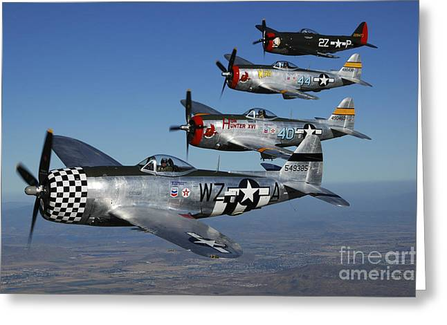 Recently Sold -  - Military Airplanes Greeting Cards - Formation Of P-47 Thunderbolts Flying Greeting Card by Phil Wallick