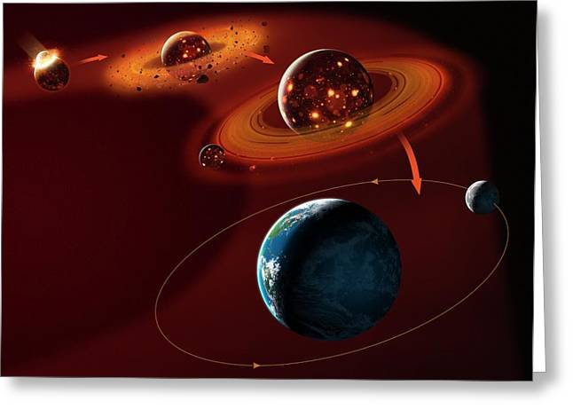 Formation Of The Moon Greeting Card by Mark Garlick