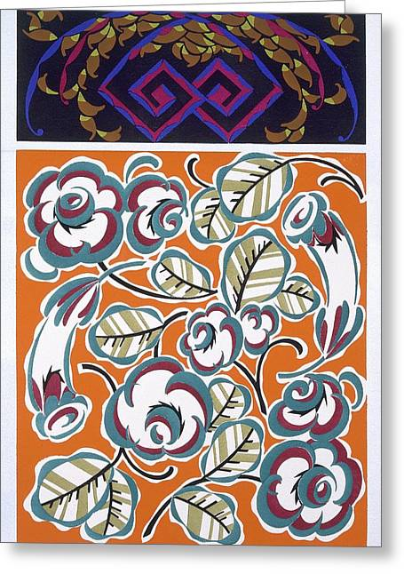 Patterns Paintings Greeting Cards - Formes et Couleurs Greeting Card by Auguste H Thomas