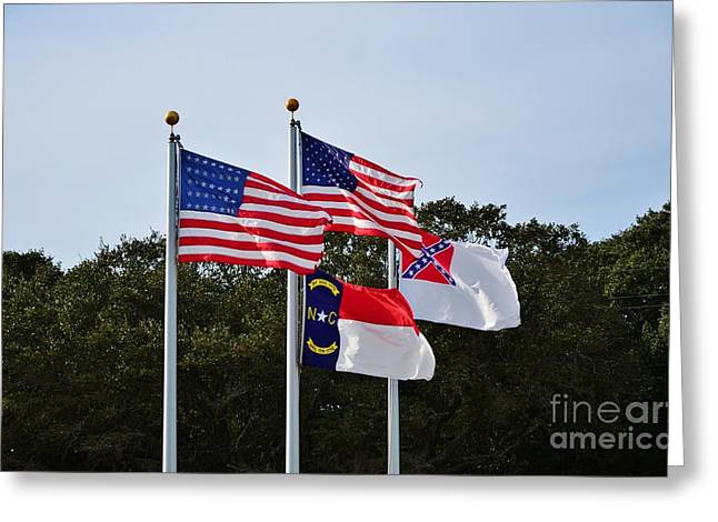 Slavery Greeting Cards - Civil War Flags At Fort Fisher NC Greeting Card by Bob Sample