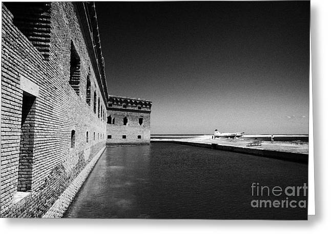 Dry Tortugas Greeting Cards - Fort Jefferson Brick Walls With Moat Dry Tortugas National Park Florida Keys Usa Greeting Card by Joe Fox