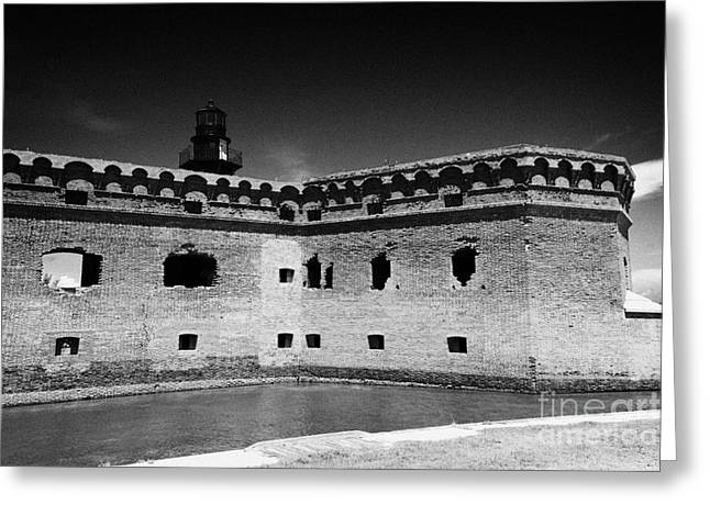 Dry Tortugas Greeting Cards - Fort Jefferson Walls With Garden Key Lighthouse Bastion And Moat Dry Tortugas National Park Florida  Greeting Card by Joe Fox
