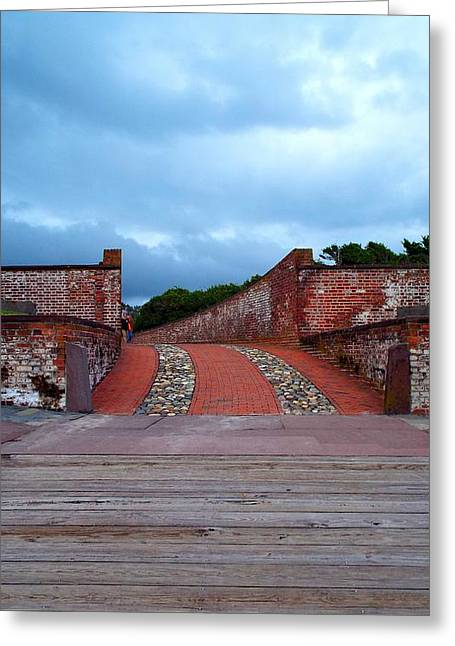 Colonial Actors Greeting Cards - Fort Moran Entrance Greeting Card by Cindy Croal