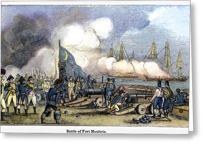 Cannonball Greeting Cards - Fort Moultrie Battle, 1776 Greeting Card by Granger