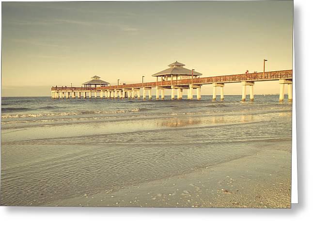 Tropical Beach Greeting Cards - Fort Myers Beach Pier Greeting Card by Kim Hojnacki