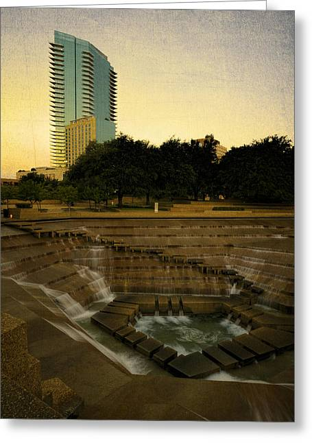 Water Garden Greeting Cards - Fort Worth Water Gardens Greeting Card by Joan Carroll