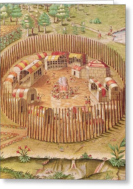 Fortified Indian Village, From Brevis Narratio..., Published By Theodore De Bry, 1591 Coloured Greeting Card by Th. Bry