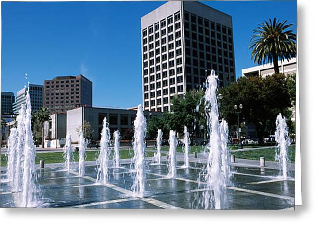 Downtown District Greeting Cards - Fountain In A Park, Plaza De Cesar Greeting Card by Panoramic Images