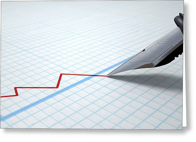 Line Graph Greeting Cards - Fountain Pen Drawing Declining Graph Greeting Card by Allan Swart
