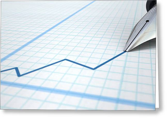 Line Graph Greeting Cards - Fountain Pen Drawing Increasing Graph Greeting Card by Allan Swart
