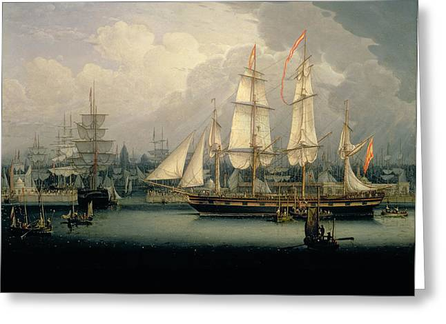 Masts Greeting Cards - Four-masted Clipper Ship In Liverpool Greeting Card by Robert Salmon