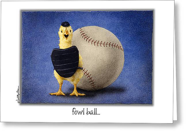 Baseball Paintings Greeting Cards - Fowl Ball... Greeting Card by Will Bullas