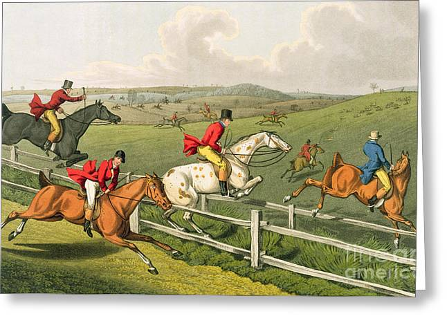 Old Fence Greeting Cards - Fox hunting Greeting Card by Henry Thomas Alken