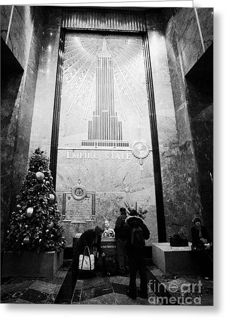 Manhatan Greeting Cards - Foyer Of The Empire State Building New York City Usa Greeting Card by Joe Fox