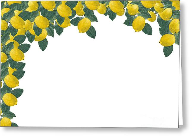 Frame Made Of Several Painted Lemons And Leaves Greeting Card by Kerstin Ivarsson