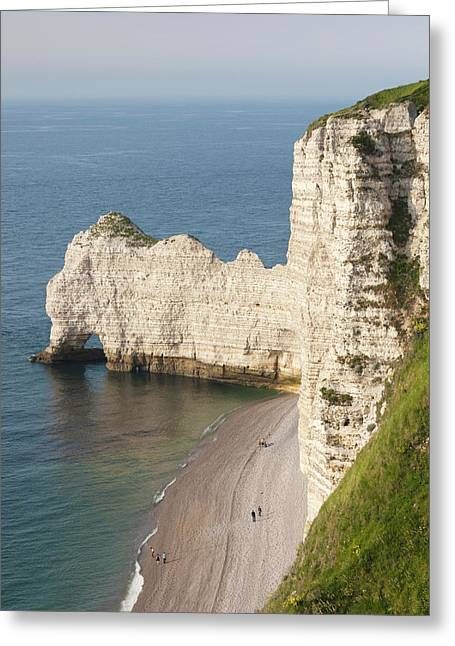 France, Normandy, Etretat, Elevated Greeting Card by Walter Bibikow
