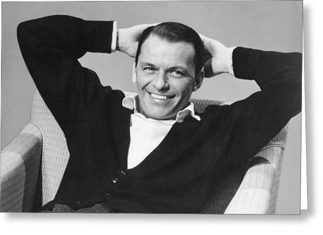 Hands Behind Head Greeting Cards - Frank Sinatra Greeting Card by Underwood Archives