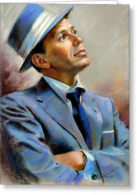 American Pastels Greeting Cards - Frank Sinatra  Greeting Card by Ylli Haruni