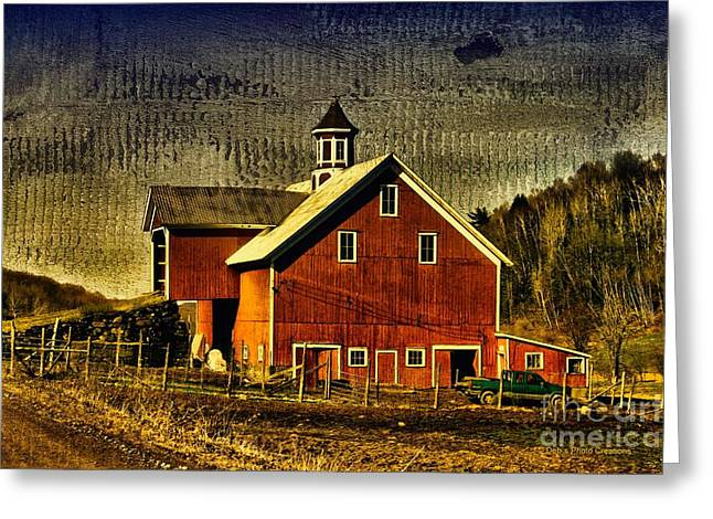 Shed Greeting Cards - Franklin Spring Barn Greeting Card by Deborah Benoit
