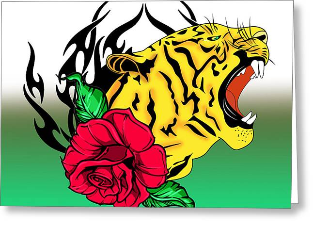 Tiger Illustration Greeting Cards - Freak Tiger  Greeting Card by Mark Ashkenazi