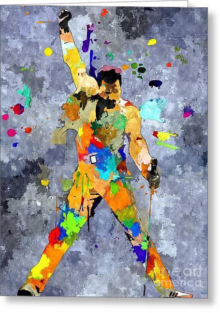 Recently Sold -  - British Portraits Greeting Cards - Freddie Mercury Greeting Card by Daniel Janda