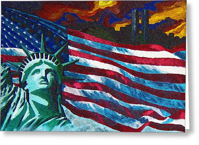 Terrorist Paintings Greeting Cards - Freedom Greeting Card by Charles Murphy