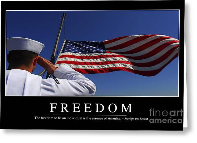 Symbolic Gesture Greeting Cards - Freedom Inspirational Quote Greeting Card by Stocktrek Images