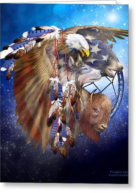 Animal Patriotic Art Greeting Cards - Freedom Lives Greeting Card by Carol Cavalaris