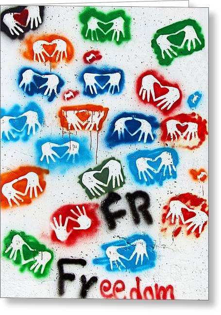 Holy Land Drawings Greeting Cards - Freedom Greeting Card by Munir Alawi