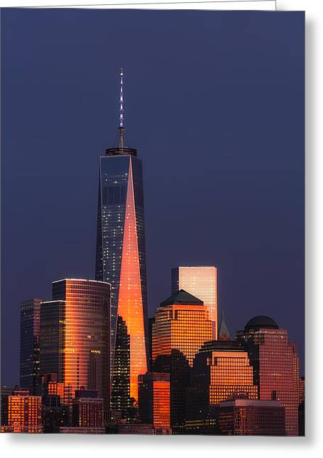 Empire State Building Greeting Cards - Freedom Tower Glow II Greeting Card by Susan Candelario