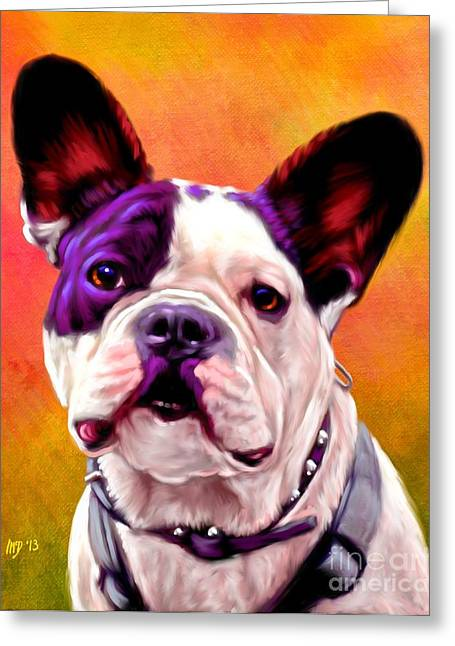Bulldog Puppies Pictures Greeting Cards - French Bulldog art Greeting Card by Iain McDonald