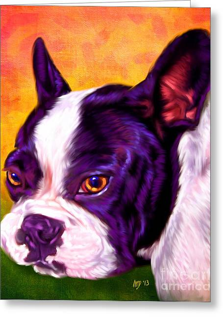 Bulldog Puppies Pictures Greeting Cards - French Bulldog Portrait Greeting Card by Iain McDonald