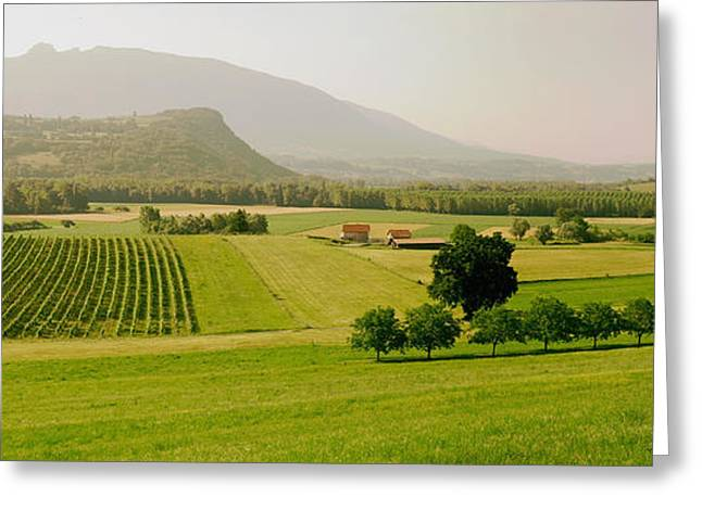 Haze Greeting Cards - French Countryside Panorama Greeting Card by Mountain Dreams