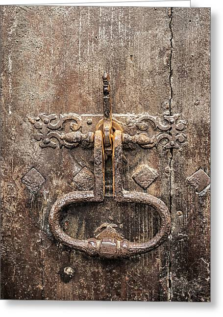Medieval Entrance Photographs Greeting Cards - French Door Knocker Greeting Card by Nomad Art And  Design