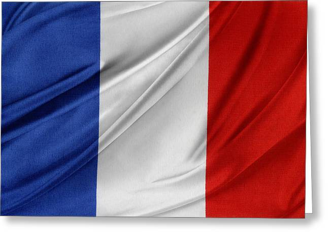Textile Photographs Photographs Greeting Cards - French flag  Greeting Card by Les Cunliffe