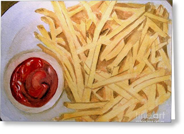 French Fries Paintings Greeting Cards - French Fries Greeting Card by Carol Grimes