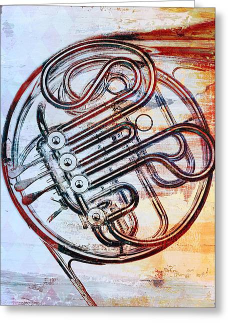 Brass Greeting Cards - French Horn Greeting Card by David Ridley